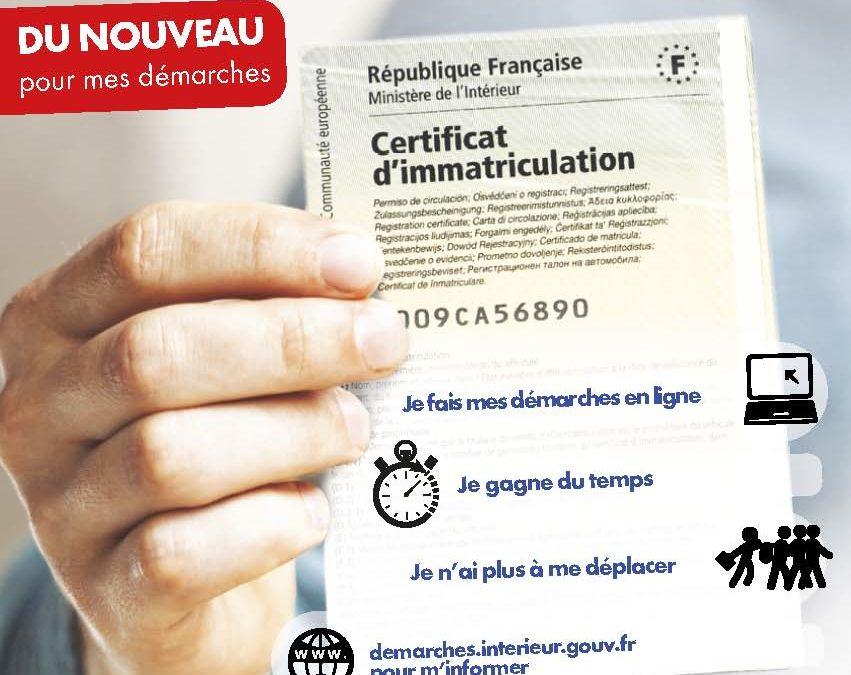 Démarche pour le certificat d'immatriculation